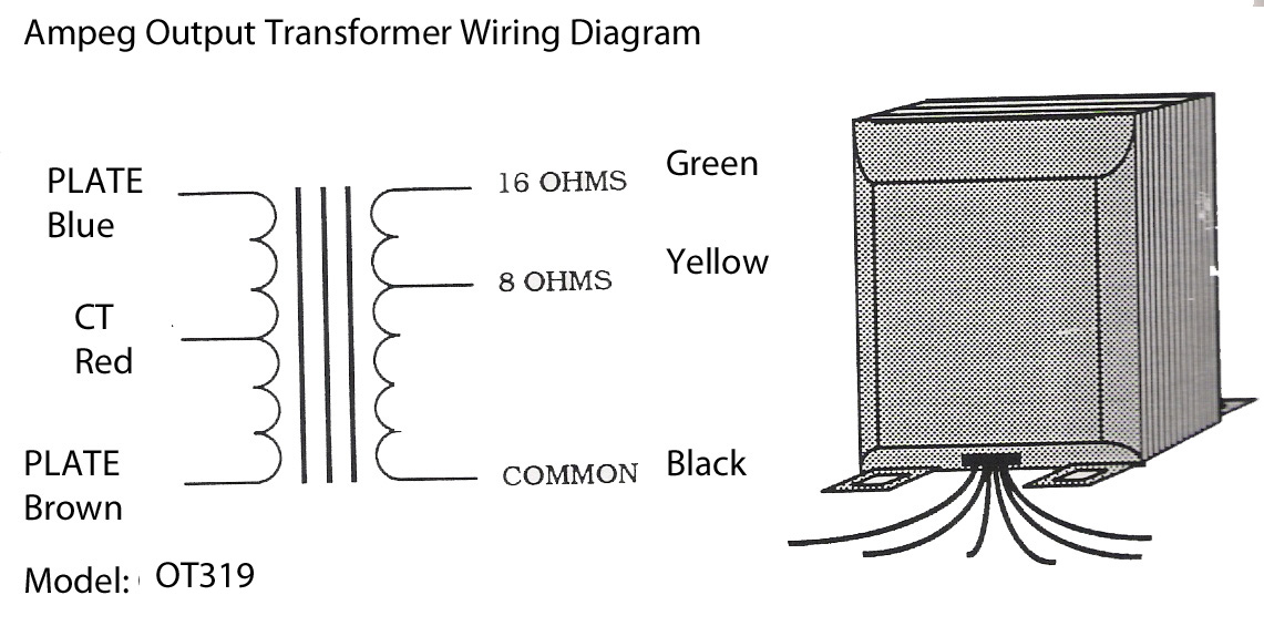 Output Transformer Wiring Diagram : Output transformer ot for ampeg b v